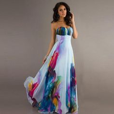 2016 New Arrival Women Summer Strapless Long Dress Beach Sleeveless Print Floor-Length Chiffon Dresses Big Hem Outdoor Party