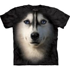 Siberian Face T-Shirt ($22) ❤ liked on Polyvore featuring tops, t-shirts, night out tops, dog top, holiday party tops, dog t shirts and dog tees