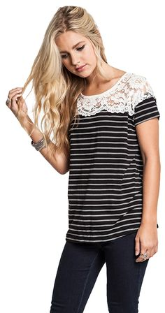 Black Striped Boutique Top with White Lace Neckline. Fancy Tops, Shops, Lace Tee, Striped Tee, Boutique Clothing, Chic Clothing, Chic Outfits, Fall Outfits, Black Tops