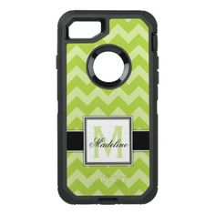 Green Lime Chevron Monogram Mobile OtterBox Defender iPhone 8/7 Case - girly gift gifts ideas cyo diy special unique