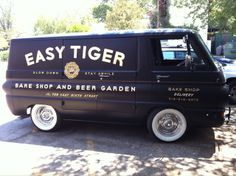 Cool hipster van for bakery and tattoo parlor and speakeasy and bike shop and coffee shop and record store and donut shop and mustache wax factory Dodge Van, Chevy Van, Vintage Vans, Vintage Trucks, Van Signage, Coffee Van, Coffee Shop, Old School Vans, Commercial Van