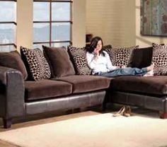Mocha Animal Print Sectional Sofa