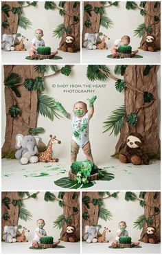 Jungle setting with vines and greenery, wild animals, and this little wild one all made for one incredible cake smash! Metro Atlanta baby and child photographer, Shot From the Heart Photography. Safari Theme Birthday, Boys First Birthday Party Ideas, Jungle Theme Parties, Baby Boy 1st Birthday Party, Jungle Birthday Cakes, Jungle Theme Cakes, Jungle Party, Baby Cake Smash, Birthday Cake Smash