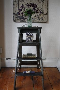Very striking set of of vintage step ladders with the most amazing original paintwork - a mix of dark tones with a coppery sheen. Sturdy and nicely proportioned with just the right amount of vintage wear. Fold away almost flat and open out on new rope hinges. Steps open flat so perfect