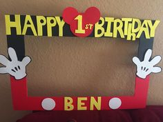 Mickey Mouse birthday photo booth frame.