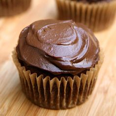 """Vegan Chocolate Cupcakes With Avocado """"Buttercream"""" Frosting Recipe Desserts with whole wheat flour, sugar, unsweetened cocoa powder, baking soda, salt, bananas, applesauce, unsweetened almond milk, vanilla extract, avocado, unsweetened cocoa powder, maple syrup, vanilla extract"""