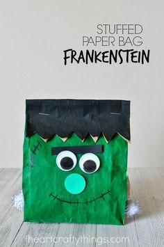 stuffed paper bag frankenstein craft halloween kid