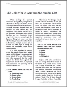 The Cold War in Asia and the Middle East | Free printable reading with questions (PDF file) for high school United States History students.