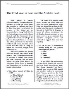cold war aims free printable worksheet for high school american history social studies. Black Bedroom Furniture Sets. Home Design Ideas