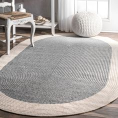 nuLoom Casual Handmade Braided Solid Border Grey Oval Rug x - x Oval (Grey)Shop for nuLOOM Grey Casual Handmade Braided Solid Border Area Rug. Get free delivery at Overstock - Your Online Home Decor Store! Get in rewards with Club O! Oval Rugs, Round Rugs, Rope Rug, Crochet Rug Patterns, Crochet Rugs, Tunisian Crochet, Braided Area Rugs, Doily Rug, Crochet Carpet