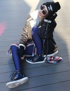 Christy Jaldori - Boy London Beanie, Tally Weijl Aviator Jacket, Pcp Leggings - ⒷⓄⓎ
