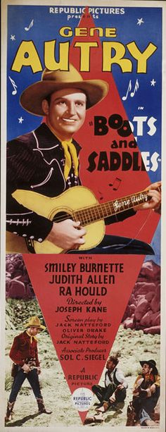Movie poster for <i>Boots and Saddles</i> (1937) starring Gene Autry