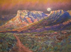 "West Texas Desert Moon:  Pastel 19x25""  By G.DeBaun. 2011"
