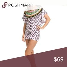 Trina Turk Swimsuit Beach Coverup Size S Nwt Trina Turk Swim Beach Cover Up Kon Tiki tunic dress top  White with multi colors Women's size S Small New with tags, retails $148 90% Nylon/ 10% Elastane Stretch material  Geometric print with contrast printed trim Scoop neck Short dolman sleeves Style TT5FN50 Hand wash Thick banded hemline Can be worn as a swimsuit cover-up or as a tunic. Great coverup for the Beach Trina Turk Swim Coverups
