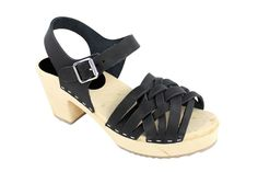 Lotta From Stockholm Womens High Heel Braided Wooden Clogs in Black Leather