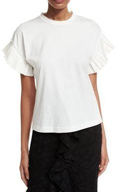 Alexis Ziva Pleated-Sleeve Top, White
