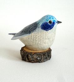 clay bird sculpture blue by ecorock on Etsy