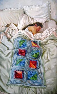"""Quilted Figure"", oil on canvas, Heather Horton Art Alevel, Painted Beds, Sleeping Women, Sleep Dream, Selling Paintings, Figure Drawing Reference, Dream Art, Gcse Art, Art Graphique"