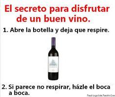 El secreto para disfrutar de un buen vino. Spanish Jokes, Spanish Class, Alcohol, Jokes Quotes, Memes, My Brain, Funny Photos, Wine Recipes, Vodka Bottle
