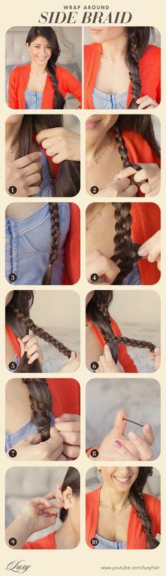 #sidebraid #braid #hair #longhair #hairdo #hairstyle #romantic #tutorial #DIY #stepbystep #longhair #ponytail #twisted  #sideponytail #easyhair #wraparound