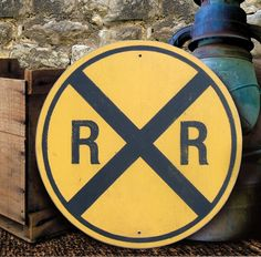 The vintage look of this hand painted railroad-crossing sign brings a touch of the great American landscape to any room. Craft Your Perfect Home! Train Party Decorations, Train Nursery, Trains Birthday Party, Thomas Birthday, Train Room, Painted Wood Signs, Hand Painted, Train Pictures, Look Vintage