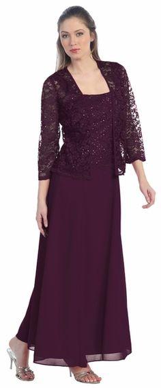 Long Chiffon Plum Mother of Groom Dress Lace Long Sleeve Jacket