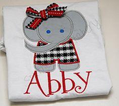 Alabama Houndstooth Elephant Applique Shirt Bama