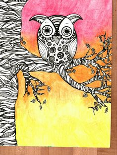 Sunset Owl by Jen Squillace, Ink and Watercolor Pencil