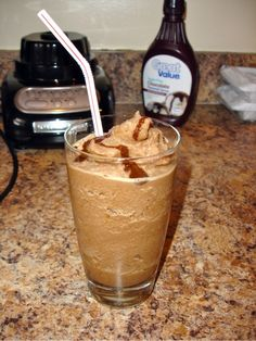 homemade McDonald's mocha frappes - 6 ice cubes of coffee, 1/2 cup of milk and  couple of squeezes of Hershey Syrup - worth a try