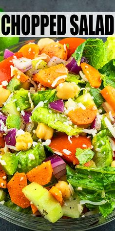 Italian Chopped Salad Recipe-The Best, Classic, Healthy, Quick And Easy Salad, Homemade With Simple Ingredients In One Bowl In 20 Minutes. This Delicious Side Dish Is Loaded With Veggies And Italian Vinaigrette Dressing. Italian Chopped Salad, Chopped Salad Recipes, Vegetable Salad Recipes, Side Salad Recipes, Vegetarian Salad Recipes, Green Salad Recipes, Healthy Recipes, Recipe For Spinach Salad, Vegetarian Bowl