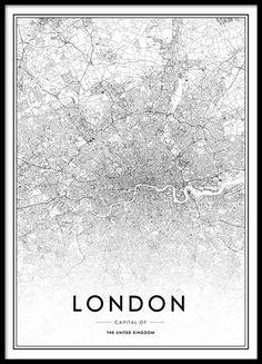 Mapa de Londres en blanco y negro.