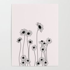 Buy Minimal line drawing of daisy flowers Poster by thecolourstudy. Worldwide shipping available at - Tattoo MAG Daisy Drawing, Simple Flower Drawing, Easy Flower Drawings, Flower Sketches, Floral Drawing, Drawing Flowers, Painting Flowers, Wildflower Drawing, Easy To Draw Flowers