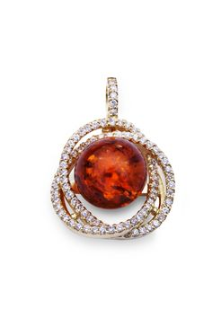 House of Amber - 18 carat gold pendant with diamonds and cognac amber.