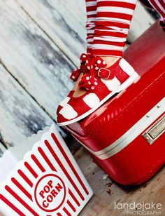 Girls shoes  Handpainted Candy cane stripe maryjane  by Snanimals, $25.00