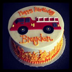 Fire Truck birthday cake with buttercream flames by Sweeten Up Bake Shop… Firefighter Birthday Cakes, Fireman Birthday, Fireman Party, 3rd Birthday, Birthday Ideas, Birthday Parties, Fire Truck Cupcakes, Fire Cake, Round Birthday Cakes