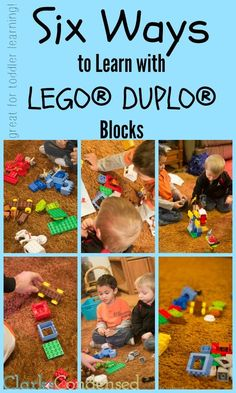 Six Ways to Learn with LEGO® DUPLO® Blocks. Great for teaching toddlers colors, shapes, numbers, and fine motor skills. #ClarksCondensed