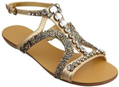 As seen in the May issue of People Style Watch and Spring Elle Accessories.Jeweled t-strap sandal with adjustable ankle buckle closure. Flat Sandals, Shoes Sandals, Flats, People Style Watch, T Strap, Nine West, Slippers, Footwear, Closure