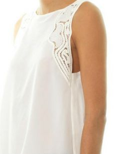 VANESSA BRUNO Lace Insert Silk Sleeveless Blouse