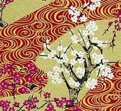 JaponskaZahrada / Handmade art papier - Slivka na červenej