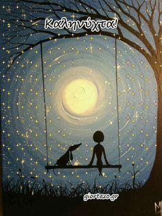giortazo.gr: Καληνύχτα Κινούμενες Εικόνες Good Night Moon, Night Night, Good Morning, Tattos, Image, Sayings, Good Night Msg, Messages, Good Night