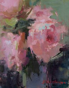 Ingrid Christensen Artworks Gallery Dandelion Oil, Still Life Art, Illustrations, New Work, Pink And Green, Peonies, Abstract Art, Gallery, Color