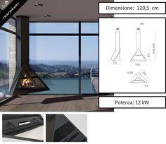 Camino design da interno Admeto angolare a soffitto di Traforart - Zetalinea SRL