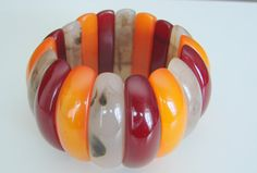 Wide Bold CHUNKY Vintage Lucite Bracelet Rich Color by joysshop, $16.95
