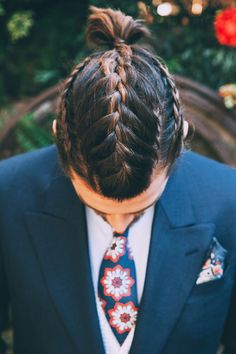 braided mens hair - photo by Indestructible Factory http://ruffledblog.com/tropical-mid-century-modern-wedding-inspiration-with-spanish-flair