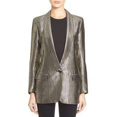 SmytheLong Shawl Lapel Blazer featuring polyvore, fashion, clothing, outerwear, jackets, blazers, liquid metallic, jacquard blazer, long jacket, brown shawl, vintage jacket and metallic blazer