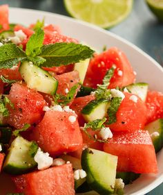 Watermelon Salad - I had a salad like this at Jolane's once and it was amazing, I've always wanted to try it but wasn't quite sure what the dressing was.