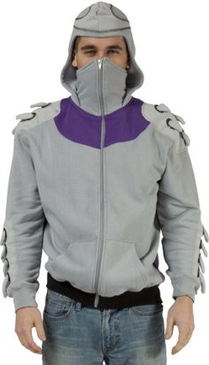 This Teenage Mutant Ninja Turtles costume hoodie is based on the armor worn by Oroku Saki, better known as Shredder, the leader of the Foot Clan. The hoodie has spikes coming out of the arms and shoul