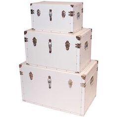 """Set of three crocodile leather trunks with silver-hued detail.    Product: Small, medium and large trunk    Construction Material:  Leather and wood   Color: White   Features: Crocodile texturing   Dimensions: 19"""" H x 30"""" W x 19"""" D (large)"""