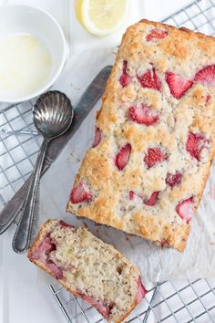 Moist, delicious Strawberry Loaf with Lemon Glaze with Chia Seeds and Lime Greek yogurt - #recipe #dessert #sweets #strawberries #summer