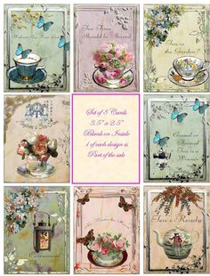 Vintage inspired tea cup quotes small note cards tags altered art set of 8 Papel Vintage, Decoupage Vintage, Vintage Tags, Vintage Labels, Vintage Ephemera, Vintage Paper, Pocket Letters, Card Tags, Of Wallpaper